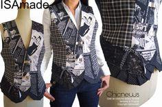 7a8ce38668601 Gilet sans manches fantaisie Original Créateur en patchwork de tissu Presse  NY Noir  gris carreaux