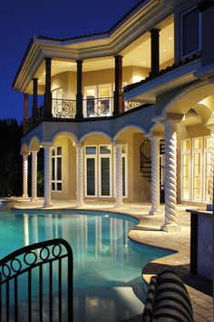 Mediterranean Custom Home Design by Design Styles Architecture - Pool at night
