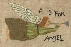Primitive Cross Stitch Pattern  A is for Angel by FiddlestixDesign, $10.00