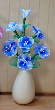 blue cherry bouquet by DennysKraftKorner on Etsy