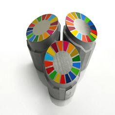 TROPHY SDGs  (SUSTAINABLE DEVELOPMENT GOALS) by Tomáš Vacek / studiovacek.cz  Designed for globalnicile.cz produced Gravelli