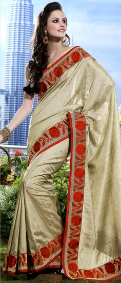 Fawn Art Matka #Silk #Saree with #Blouse @ $103.73 | Shop Here: http://www.utsavfashion.com/store/sarees-large.aspx?icode=skk13524b