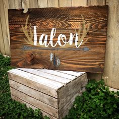 Rustic Large Nursery Name Arrow and Antlers personalized reclaimed pallet wood sign little boy room boho feathers hand painted by WehuntWoodDecor on Etsy https://www.etsy.com/listing/466897699/rustic-large-nursery-name-arrow-and