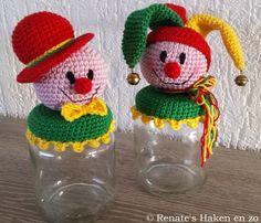 Patroon potje Clown           Garen: Catania en Phildar Coton 3   Haaknaald 3,5 of 3   Een potje met dekseltje   (Ik heb een conservenpot...