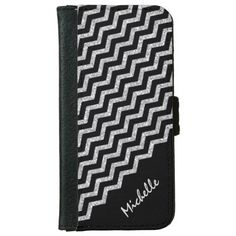 Silver Chevron Black Personalized iPhone 6 Wallet Case by Mega Case #iPhone #iPhone6 #case