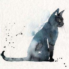 black cat illustration watercolor