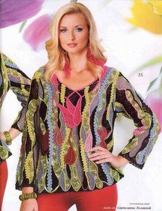 "Photo from album ""Журнал Мод 2015 № on Yandex. Zhurnal Mod, Freeform Crochet, Irish Crochet, Point Lace, Irish Lace, Crochet Clothes, Crochet Patterns, Cover Up, Blouse"