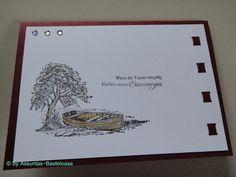 Trauer- und Beileidskarte gestempelt,  ein einsames Boot auf dem See Playing Cards, Frame, Handmade, Loneliness, Stamping, Cards, Ideas, Picture Frame, Hand Made