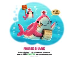 cute and funny art - Piper Thibodeau ( DeviantArt Cute Animal Drawings, Kawaii Drawings, Cute Drawings, Cute Fantasy Creatures, Cute Creatures, Chibi, Animal Puns, Animal Food, Nurse Shark