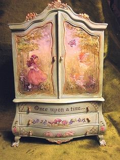 Jill Dianne -  Hand-painted Finding Fairies Baby House Cupboard - Dollhouse Miniatures. Would  make a beautiful jewelry box:)