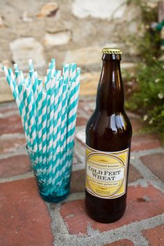 bright turquoise straws paired with our treasury style beer labels in lemon
