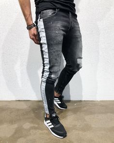 Moomphya 2020 New Side Stripes Denim Ripped Jeans For Men Streetwear Hip Hop Skinny Jeans Men Distressed Holes Black Jeans Whatsapp Info, Mode Man, Style Masculin, Lined Jeans, Rugged Style, Style Men, Rugged Men, Jeans Material, Denim Jeans Men