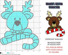 Fill It In #6- Reindeer & Candy Cane Christmas plastic canvas pattern by Michael Kramer