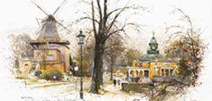 Kleinformat Gemälde: Potsdam Historische Mühle