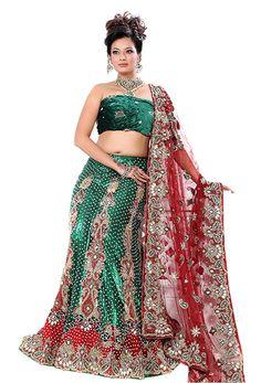 Green & Red Stunning Net Lehenga Wedding Lehenga Free Shipping on All #Lehenga #LehengaOnline #Choli #WeddingLehenga #BridalWear #PartyLehenga #LehengaCholi Order From: http://www.sareenet.com/lehe-diff15646.html