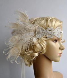 Ivory Peacock Dream The Great Gatsby Headband by BlueSkyHorizons