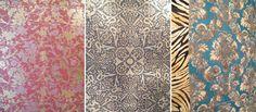 Linha de revestimentos da Horus Art. Aqui, o dourado vem acompanhado de arabescos e cores fortes, porém com tons mais sóbrios. O resultado lembra o de um papel de parede.