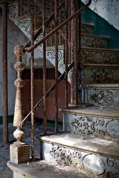 vintage metal work on stairs
