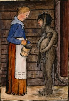 Hugo Simberg - The Farmer's Wife and the Poor Devil, 1899 Drawing School, Different Kinds Of Art, Digital Museum, Fairytale Art, Vintage Artwork, Macabre, Art Pictures, Les Oeuvres, Fantasy Art