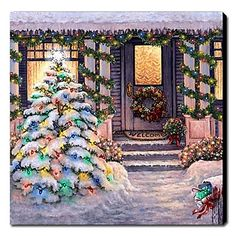 Global Gallery 'Welcome to Christmas' by Janet Kruskamp Original Painting on Wrapped Canvas Size: Welcome To Christmas, Noel Christmas, Vintage Christmas Cards, Christmas Pictures, Winter Christmas, Christmas Lights, Christmas Decorations, Christmas Posters, Xmas