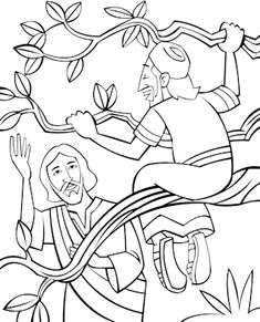 Jesus Forgives Zacchaeus Coloring Page Come Down