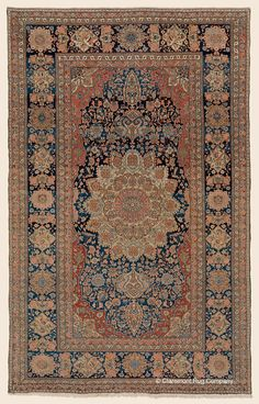 "MOTASHAM KASHAN, 4' 6"" x 7' 2"" — 3rd Quarter, 19th Century, Central Persian Antique Rug - Claremont Rug Company"