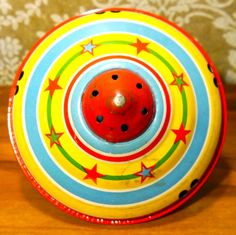 Vintage 1950s Chein Tin Litho Spinning Toy Top Circus Clowns Blue Star   eBay