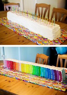 This is INSANE. 30 layers, 30th birthday.I just used box white cake mixes - 10 of them that I bought on sale. I had 6 6x6 cake pans and I mixed and baked 2 cake mixes at a time, divided them into 6 bowls and mixed in Wilton gel food coloring bought at JoAnns. Ohdeedoh