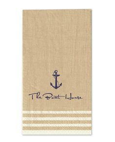 Natural Stripe Border Guest - Caspari  So fun - select your napkin, image, text, font and color and voila'!