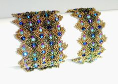 Weave a supple, shimmering tapestry of bead fabric for your wrist! This pdf tutorial for a beautiful beaded lace bracelet cuff features lots of sparkling Swarovski crystals and a hidden snaps clasp. When worn the snaps cannot be seen, and the bracelet appears as a seamless pattern.