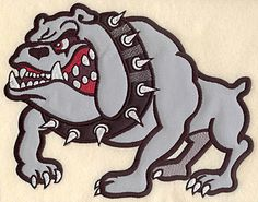 Angry Bulldog large double applique | Applique Machine Embroidery Design or Pattern