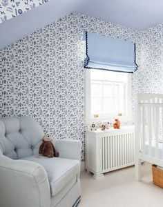 Traditional Wall Treatment: Patterned wall paper in children's bedroom..
