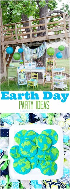 Earth Day Party Ideas including globe cookies, dirt cake with gummy worms, ants on a log, free earth printables, and other great tips to reduce, reuse, and recycle at your gathering.