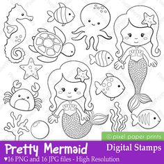 Pretty Mermaid - Digital Stamps                                                                                                                                                                                 Más