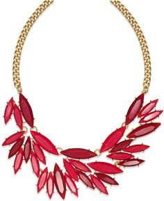 Bar III Gold-Tone Red Oval Stone Frontal Necklace on shopstyle.com