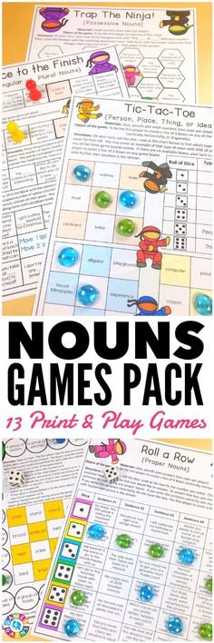 """LOVE these low-prep games! My students have so much fun playing them!"" This Nouns Games Pack contains 13 fun and engaging printable board games to help students to practice common nouns, proper nouns, singular nouns, plural nouns, collective nouns, possessive nouns, concrete nouns, abstract nouns, and more!"