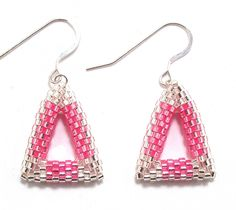 Pink & Silver Triangle Beadwork Earrings Free Shipping USA