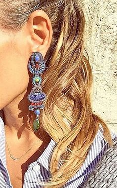 Dori Csengeri Soutache Necklace, Tassel Earrings, Ring Earrings, Handmade Beaded Jewelry, Boho Jewelry, Jewelery, Blue Christmas, Shibori, Beaded Embroidery