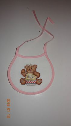 Baby-Girl-Bib-Teddy-Bear-messy-eater-Finished-Cross-Stitch-Pink