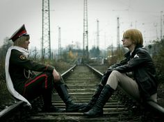 Alone Together by arsidoas.deviantart.com on @deviantART - Cold War Ivan and Alfred cosplay, uploaded by the Ivan cosplayer. I love how they work almost like reflections of each other here.