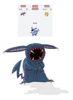 Pokemon fusion Pikachu and Zubat Pokemon Fusion Art, Pokemon Mashup, Pokemon Noir, Mega Pokemon, Creepy Pokemon, Pokemon Funny, Pokemon Memes, Cool Pokemon, Pokemon Stuff