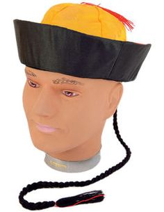 Hat: Adult Chinese Yellow Mandarin Hat with Pigtail