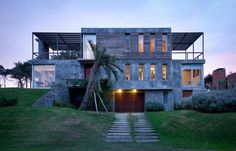 The work of Martin Gomez Arquitectos. A home constructed of stone, concrete, timber and glass. Gothic Architecture, Beautiful Architecture, Residential Architecture, Interior Architecture, Interior And Exterior, Unusual Buildings, Amazing Buildings, Building Structure, Building Design