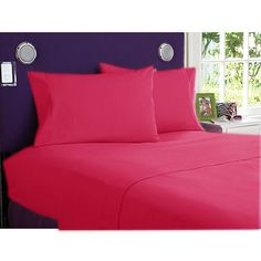 Queen Hot Pink Solid 4 Piece Sheet Set 100% Egyptian Cotton #Scala