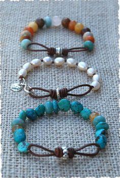 Infinity Link Leather & Stone Bracelets tutorial. Me encantan las pulseras!!!! Quiero por lo menos hacer 25 de estas!