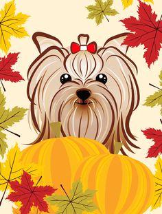 Yorkie Yorkishire Terrier Thanksgiving Flag Garden Size BB2010GF