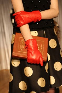 polka dots, red gloves, and the dictionary.