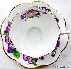 Sweet purple and yellow floral Rosina tea cup and saucer in great antique condition. Set has no chips, cracks or crazing and the paint/gold looks great. ~~~~~~~~~~~~~~~~~~~~~~~~~~~~~~~~~~~~~~~~~~~~~~~~~ ~Complimentary antique sugar spoon included with every purchase~ **The Beloved