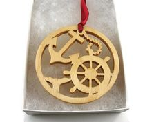 Christmas Ornament Handmade from Birch Wood -- Ship Helm And Anchor --  by KevsKrafts
