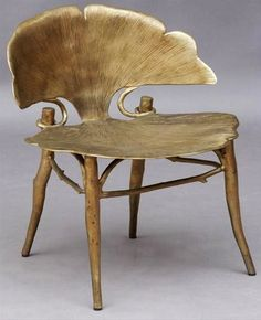 The Ginko leaf is a great Art Nouveau motif, as is the Iris. This is a pretty cool chair. Funky Furniture, Unique Furniture, Furniture Design, Furniture Dolly, Inexpensive Furniture, Furniture Chairs, Bespoke Furniture, French Furniture, Plywood Furniture